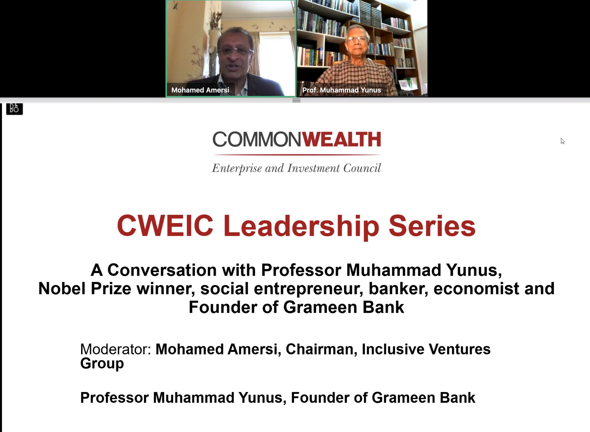 Professor Muhammad Yunus CWEIC webinar